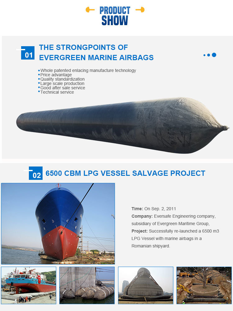 Marine Inflatable Rubber Airbags for Ship Launching Salvaging Cargo Carrying