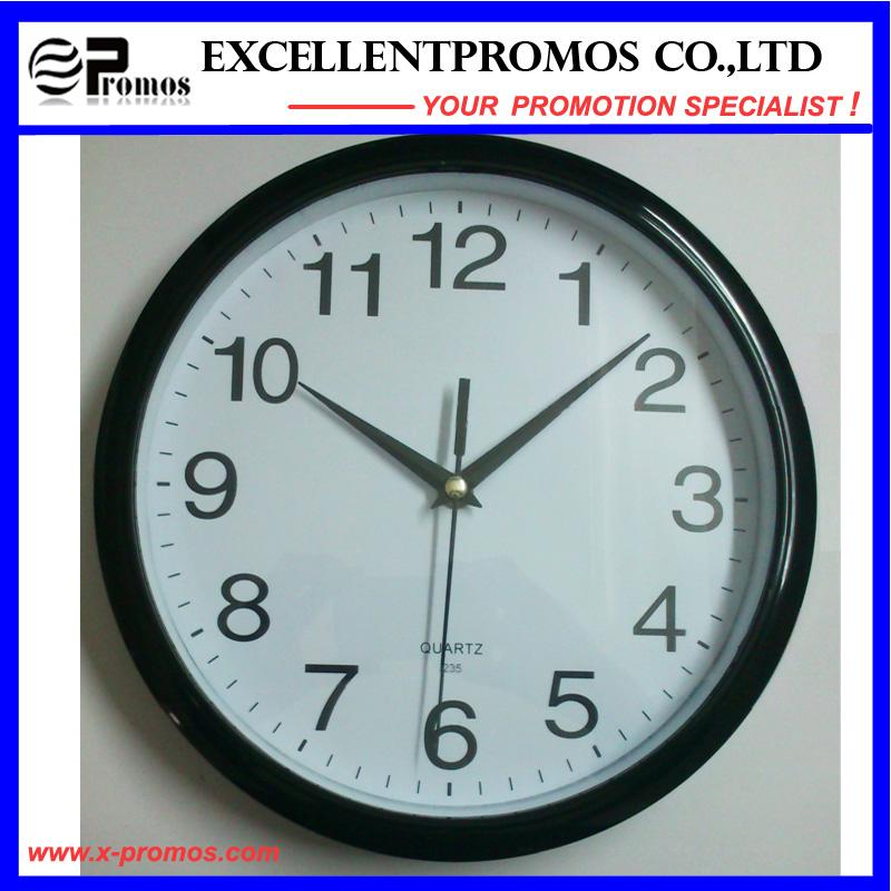 Silver Frame Logo Printing Round Plastic Wall Clock (Item12)