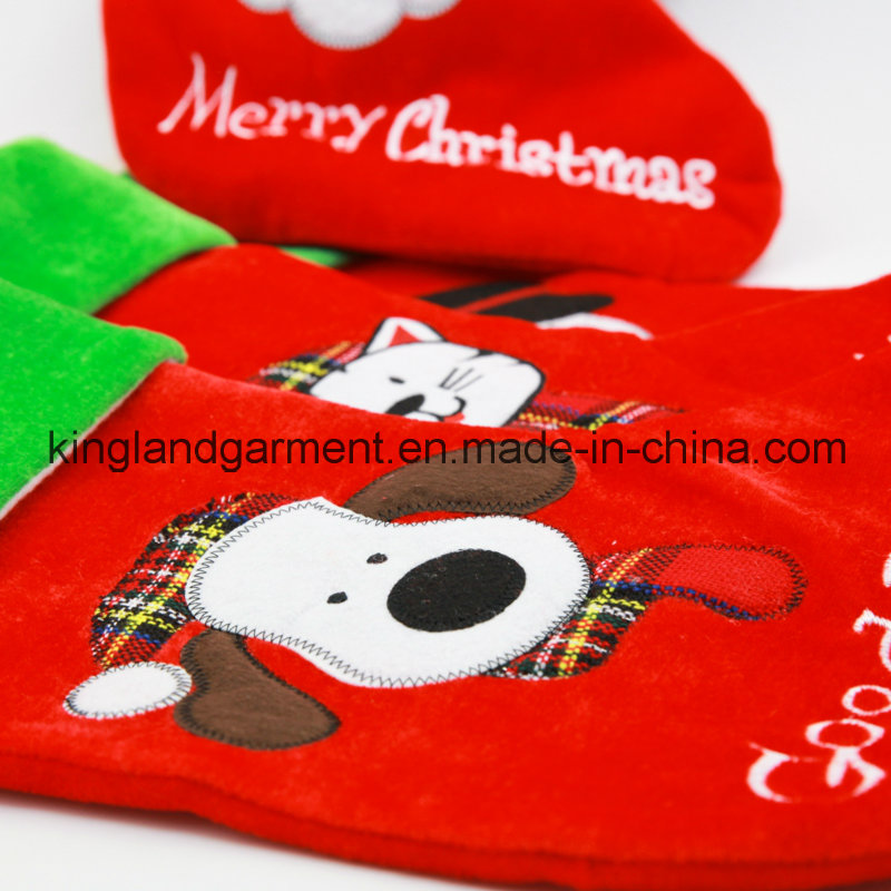Quality Embroidery/Applique Velvet Good Doggie Dog Style Stocking for Decoration