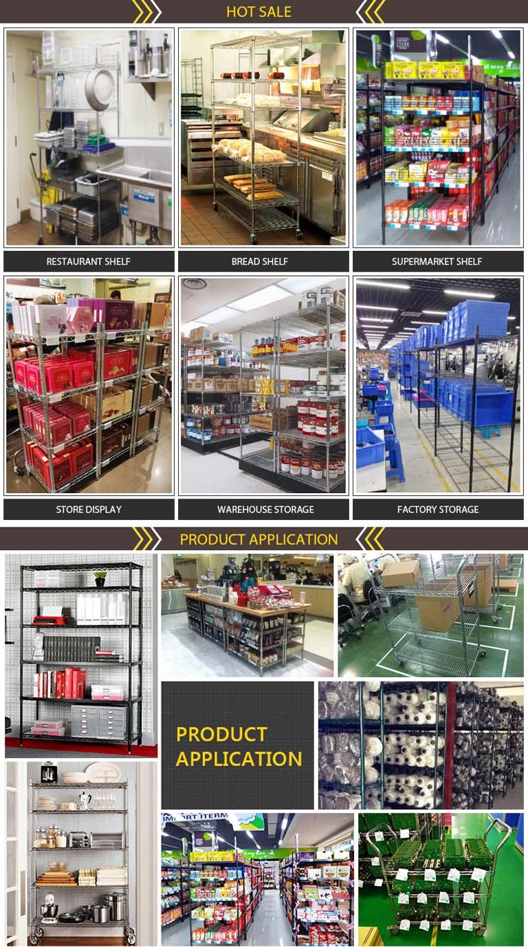 Epoxy Coated Black Wire Gondola Metal Rack with 6 Shelves