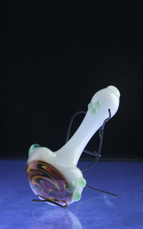 Wholesale Glass Wig Wag Spoon for Smoke with Dots (ES-HP-088)