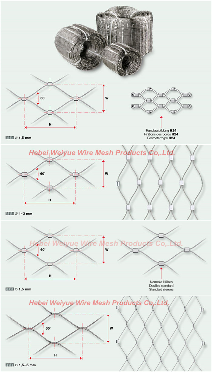 Protective Wire Rope Mesh Stainless Steel Woven Rope Mesh