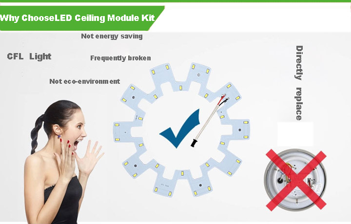 10-36W LED Ceiling Light Module with LED Driver and Magnets