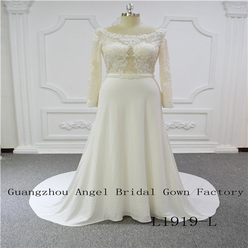 Long Sleeves Top Lace with Beaded Skirt Chiffon Wedding Dress