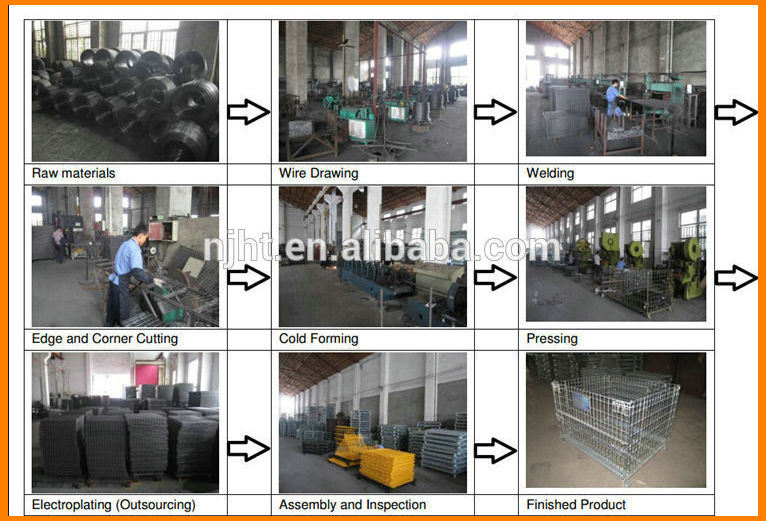 Stackable and Collapsible Steel Wire Mesh Cage for Warehouse Storage
