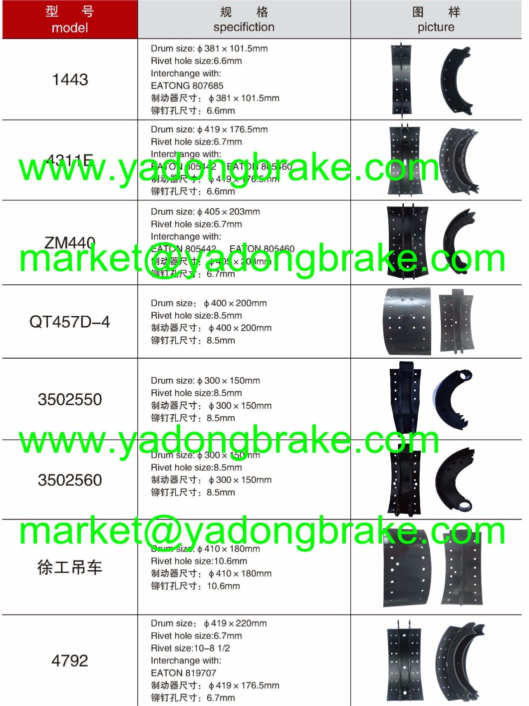 Truck Spare Parts Lined Steel Brake Shoe 4515, 4707, 4709