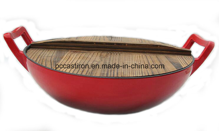 Preseasoned Cast Iron Wok with Cover Dia 25cm