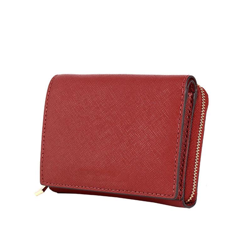 Yc-W002 Red Saffiano PU Leather Coin Purse Lady Fashion Short Wallet
