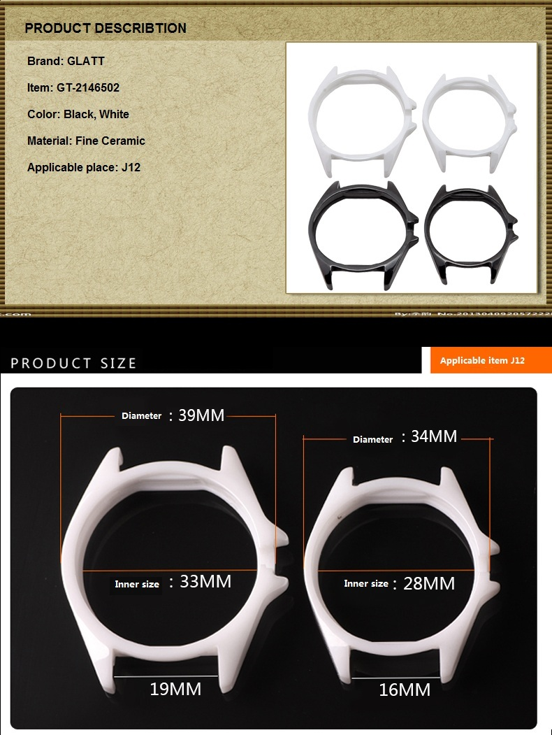 Ceramic Bezels for Handwatch Wristwatch Timepiece