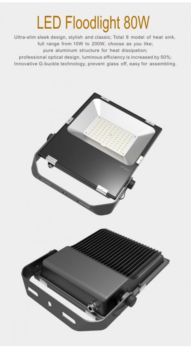 220V 80W LED Flood Lighting 8000lm Waterproof IP65 Garden Square
