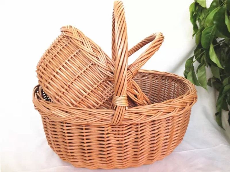Customized Eco-Friendly Handmade Rectangular Steamed Willow Basket for Picnic