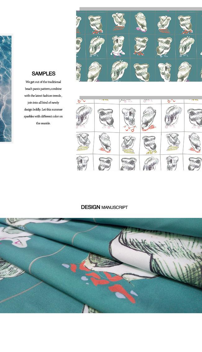 Blushed Poleyster Printed Beachwear Fabric with Girl-Head-Design