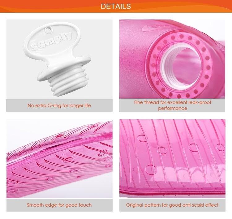 Transparent Rose Red New Design PVC Hot Water Bag