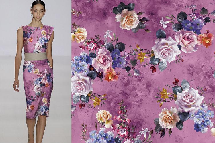 Floral Silk Satin fabric