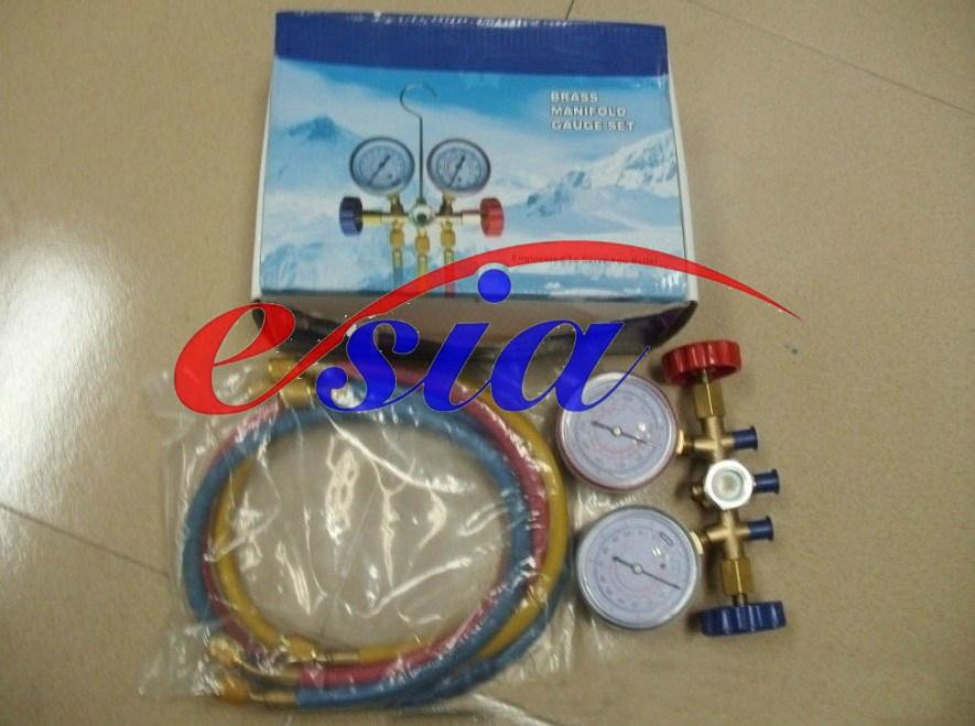 Testing Manifold Gauge Set with Sight Glass Brass