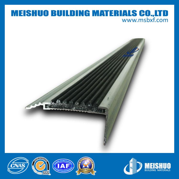Anodized Aluminum Slip-Resistant PVC Insert Bullnose Stair Nosing for Safety