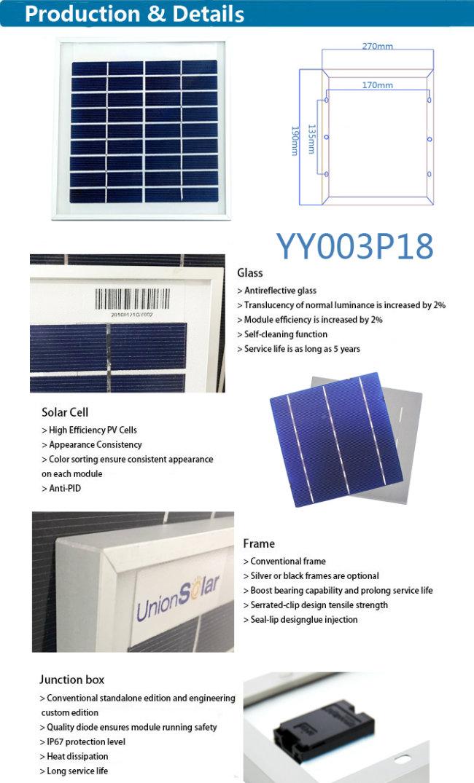 OEM 3W/5W Low Price Poly Solar Panel in Stock