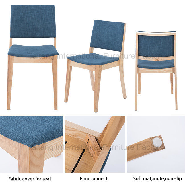 Modern Fabric Seat Home Dining Wooden Chair
