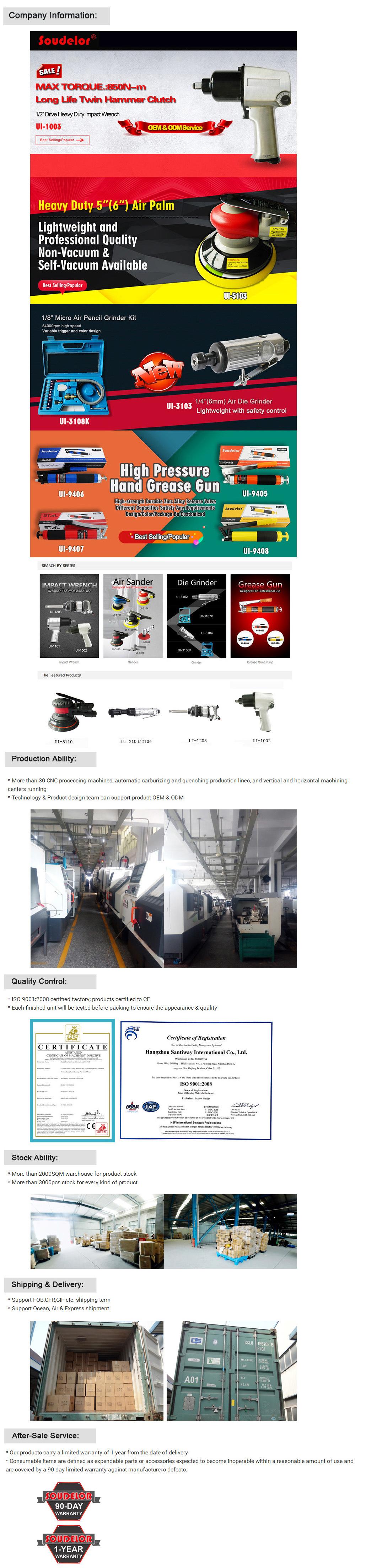 125mm (152mm) Sanding Pad Pneumatic Tools Air Orbital Sander Ui-510804