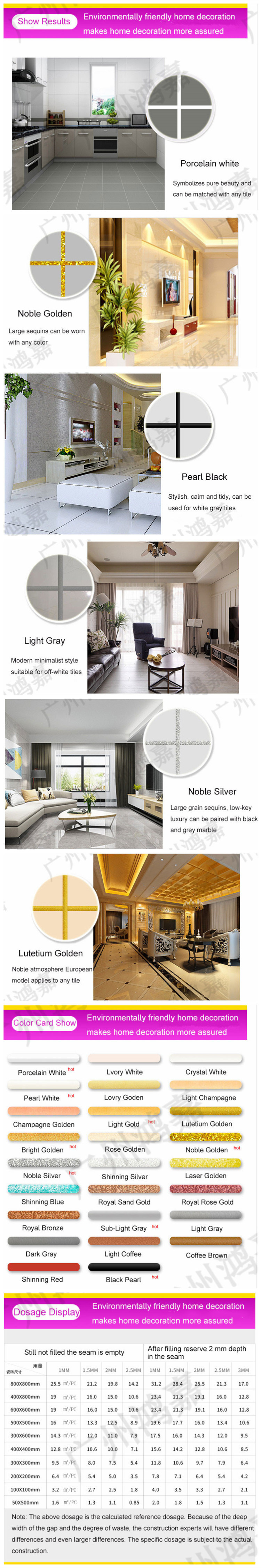 Factory Direct Wholesale Product Different Color Customized Two Components Mixed Glitter Epoxy Resin Material for Floor Ceramic Tiles Seams Silicone Sealant