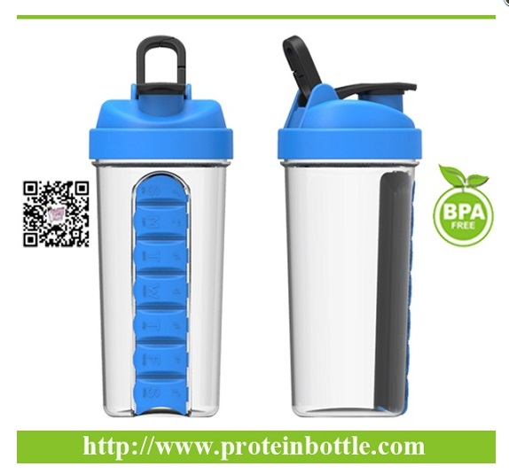 Newest Patented Protein Shaker Bottle with Pill Box
