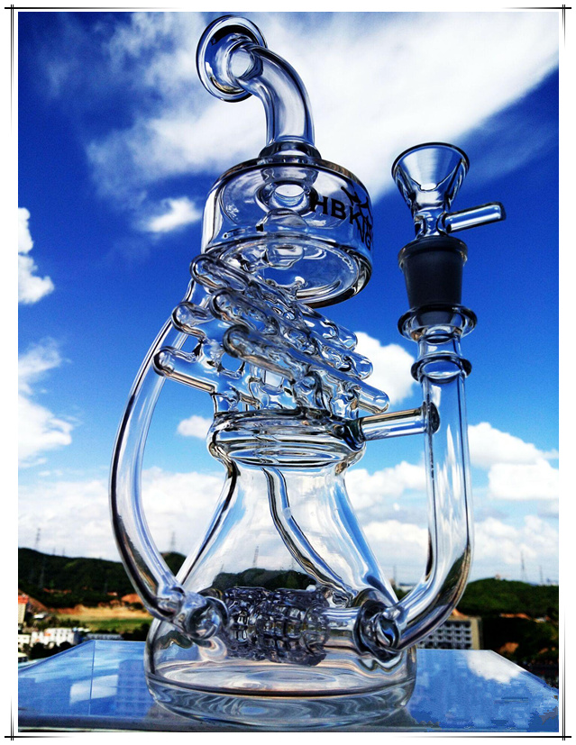 Hb-K62 Half of Recycler Perc House Shape Glass Smoking Water Pipe