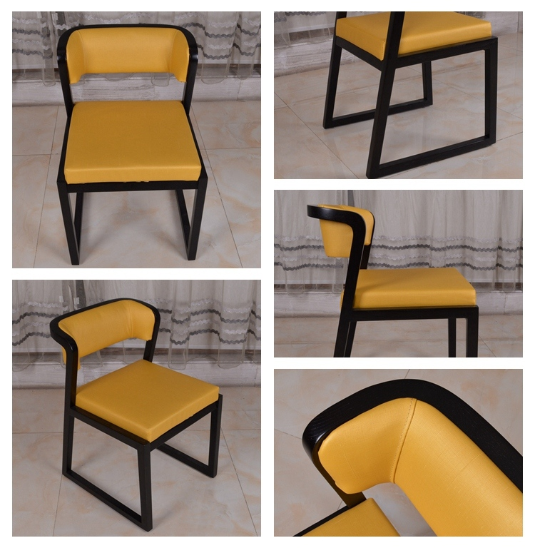 Yellow PU Leather Dining Room Chair for Hotel Restaurant Cafe