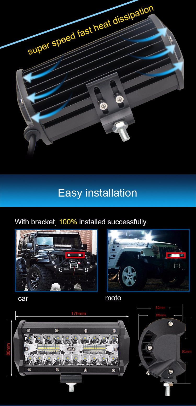 2017 Newest Style Waterproof IP68 120W 12V 8d Reflector Jeep Offroad Driving Lights, 7 Inch 3 Row Mini LED Light Bar