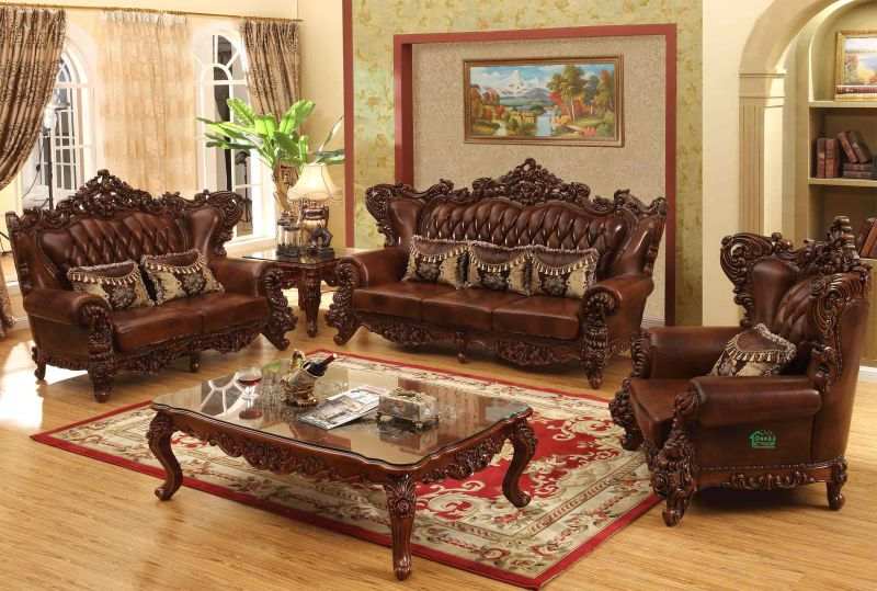 Living Room Furniture with Wood Leather Sofa Set (529)