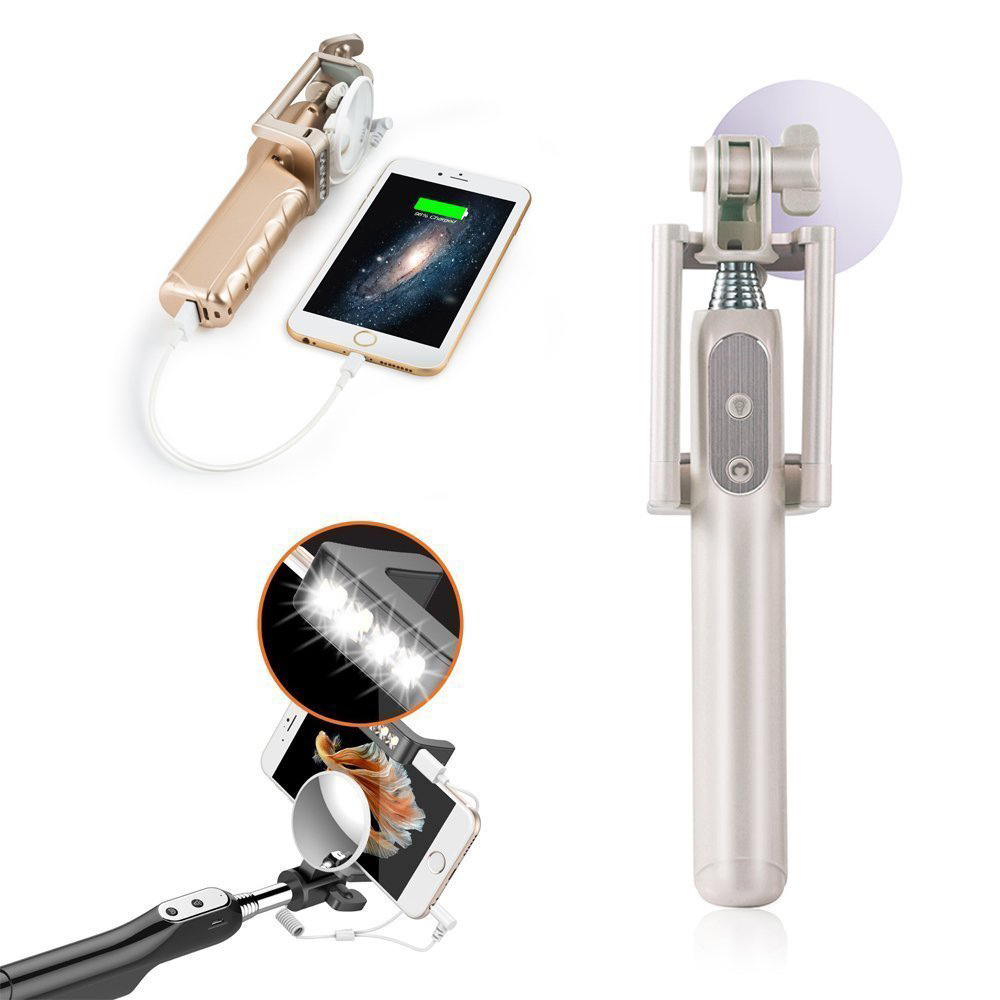 Built-in LED Light 3200 mAh Powerbank Multi-Function Wired Control Selfie Stick