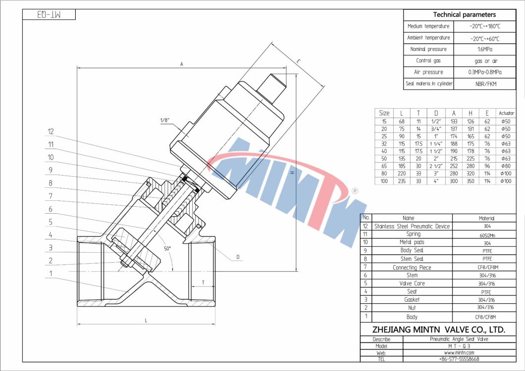 Mintn-Pneumatic Angle Seat Valve Thread Ends