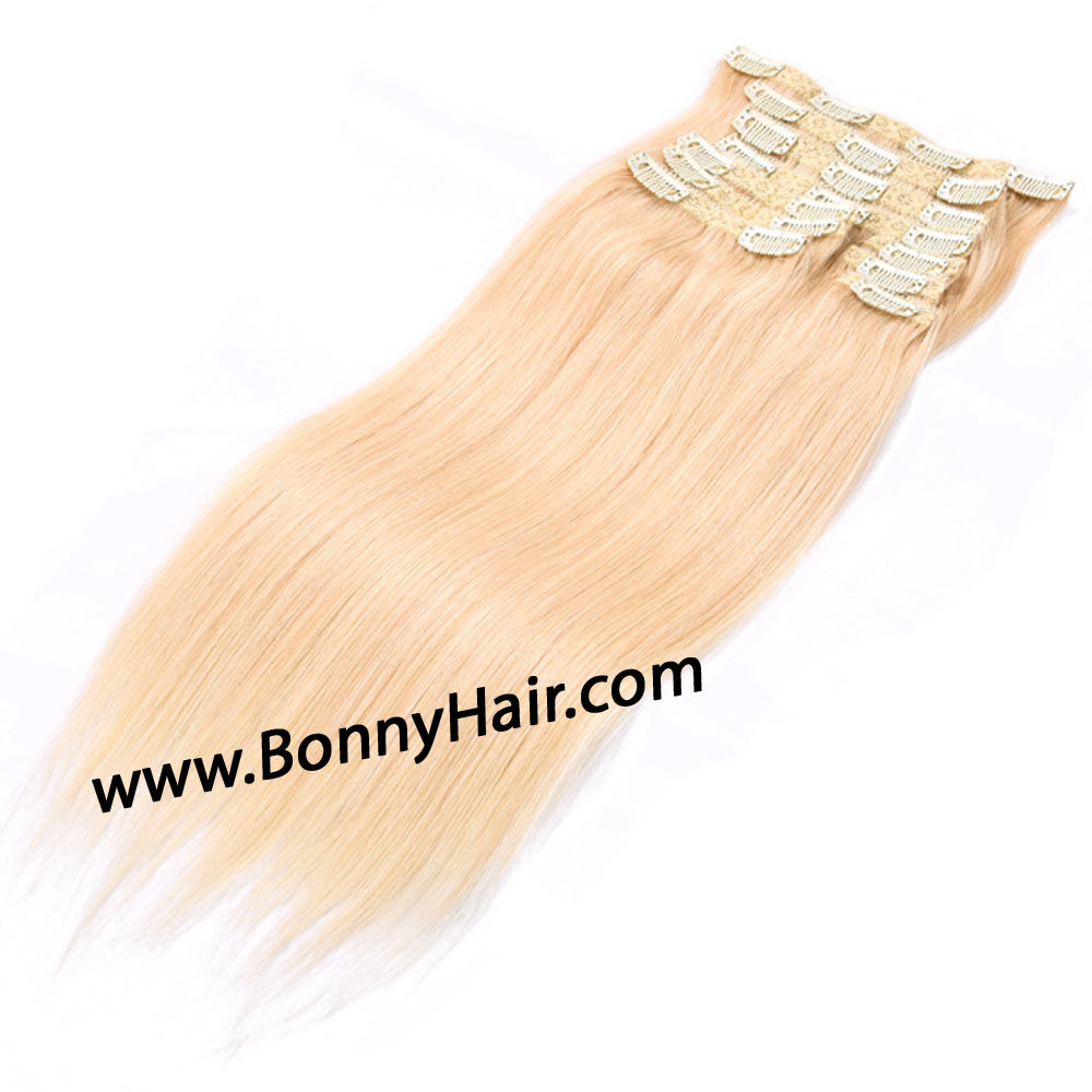 Discount Brazilian Virgin Remy Huam Hair Extension Clip on Hair Extension Blonde Color Hair Extension