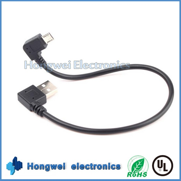 Turn 90 Degree Micro USB 2.0 Male to Male Data Sync Charge USB Cable
