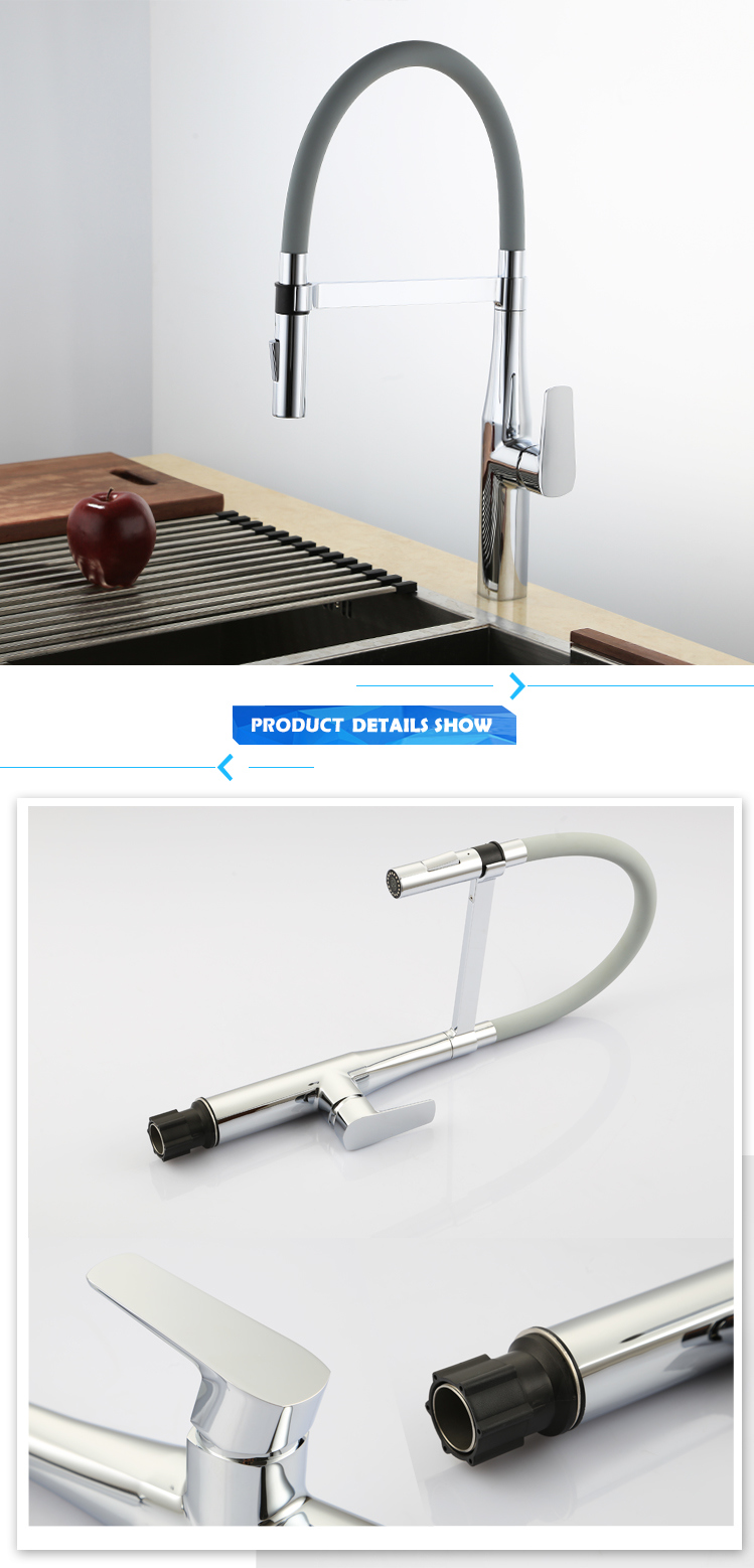 The Copper Kitchen Faucet Hot and Cold Faucet Swivel Spring Turn Black/White in Color
