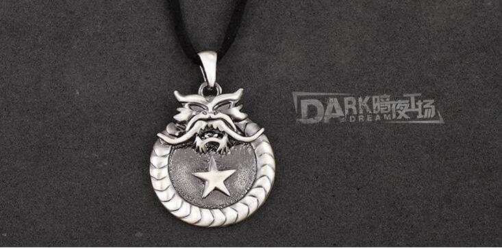 Retro Necklace Alloy Metal Dragon Pendant PU Chain