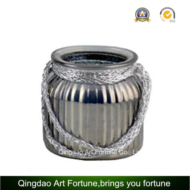 Jute Handle Mercury Glass Jar/Vase for Home Decor