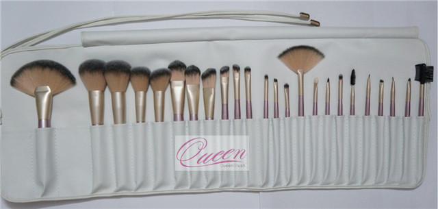 24PCS Professional Cosmetic Brushes with White PU Bag