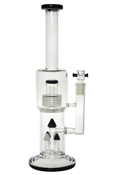 4 Tower Showerhead Perc Glass Water Pipe for Smoking (ES-GB-434)