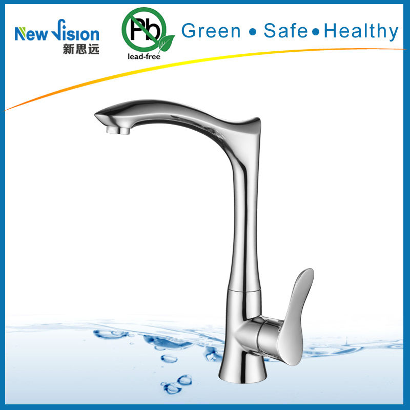 Contemporary Brushed Finish Stainless Steel Kitchen Mixer