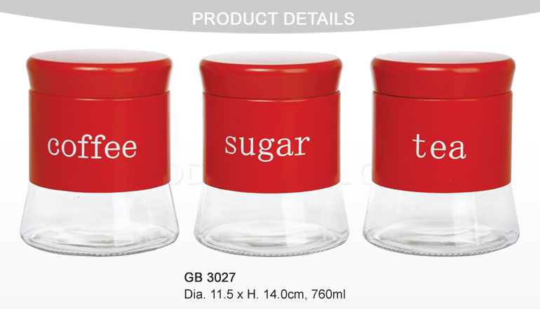 3PCS Glass Food Storage Jars with Colored Stainless Coating
