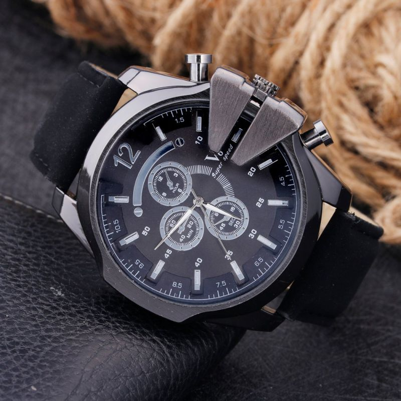 Mens Quality Wristwatch with 3eyes Leather Strap