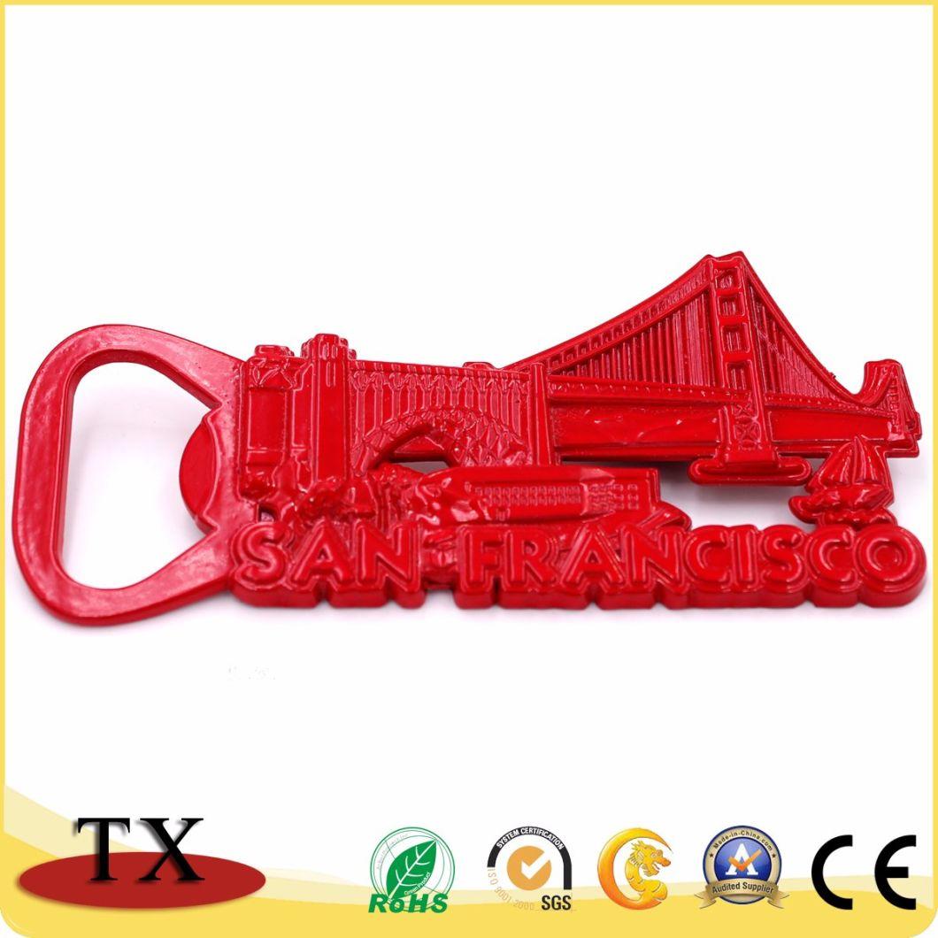Functional Red Metal Fridge Magnet with Opener