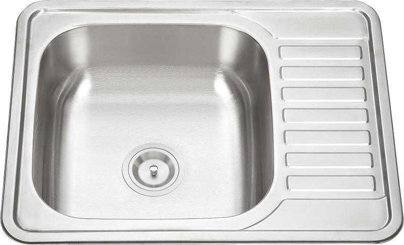 6550 Stainless Steel Single Bowl with Plate Stretching Sink