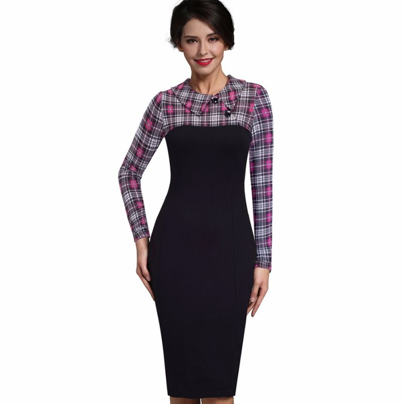 Winter Dress Sleeve Patch Complete Turn Down Collar Button Business Pencil Sheath Dress