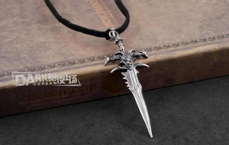 The Frostmourne Alloy Metal Silver Color Necklace Leather Chain