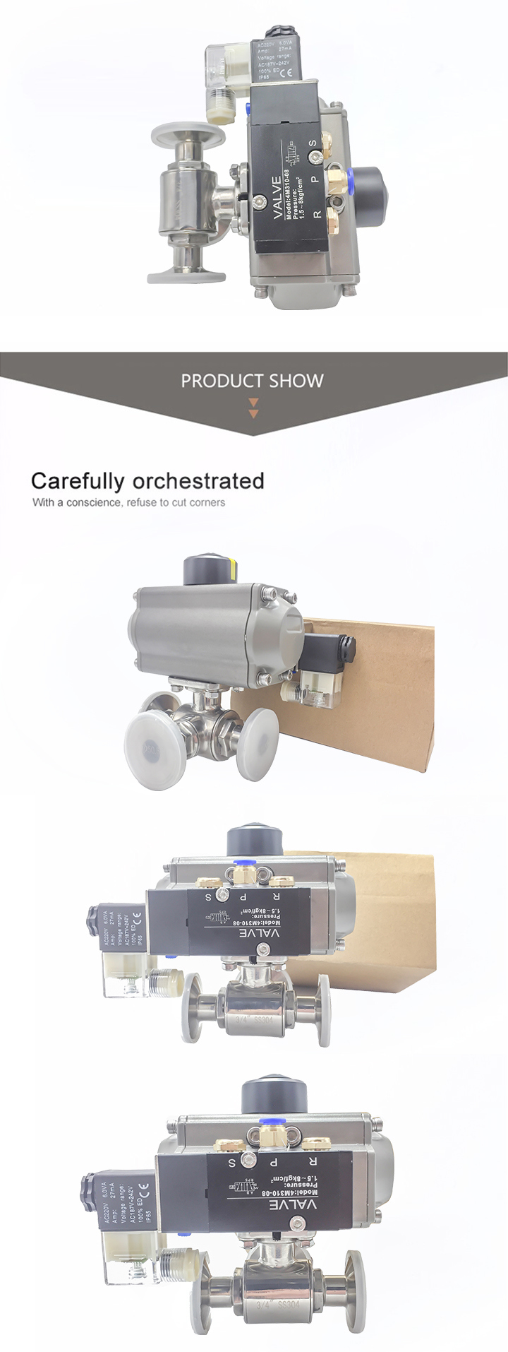 3-Ways Clamping Ball Valves with Pnumatic Actuator and Solenoid Valve