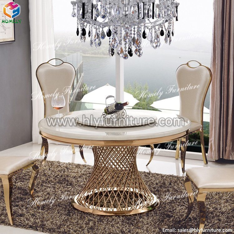 Gold Round Hotel Banquet Marble Top Stainless Steel Table Dining Table