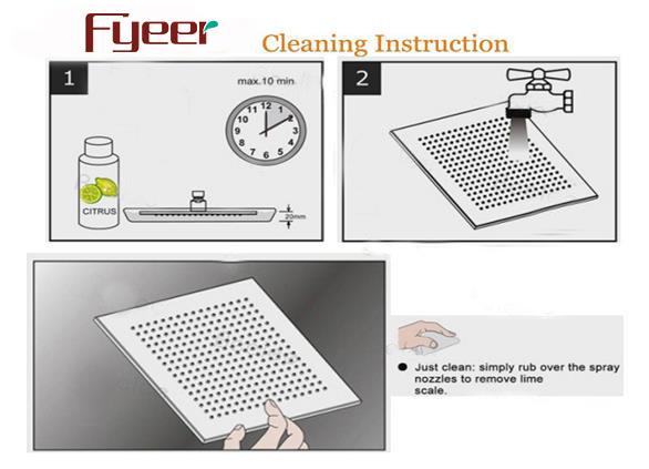 Fyeer 12 Inch Ultrathin Brushed Shower Head LED Overhead Shower