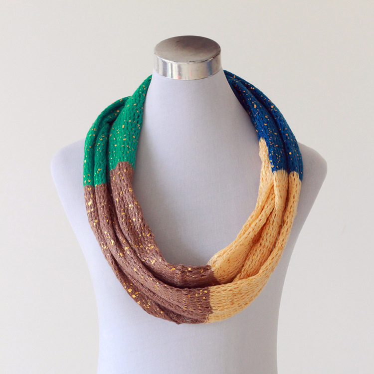 Womens Unisex Neck Warmer Fancy Thin Golden Foil Knitted Loop Snood Scarf (SK151)