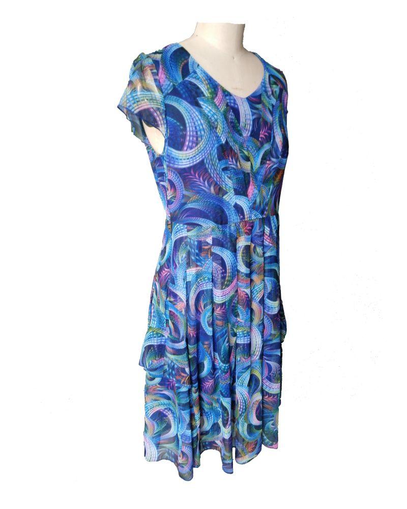 Summer Printed Geometrical Pattern V Neck Short Sleeve Pleated Women's Dress